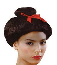 JAPANESE WIG WITH RED BOW ORIENTAL STYLE FANCY DRESS COSTUME ACCESSORY