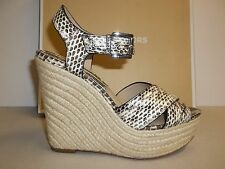 Michael Kors Size 7 M Eur 37 AIMEE Natural Snake Wedge Sandals New Womens Shoes