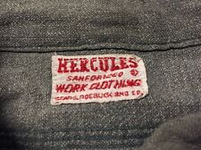 Vintage 40s Hercules Black Chambray Sears Sanforized Denim Work Chore Shirt.