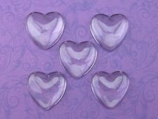 10 Heart Glass Dome Cabochons - 1 inch - 25mm - Clear Magnifying Bead Cab 1""
