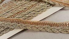 2cm- 1 meter Stylish gold braided diamante trim lace for crafting designing