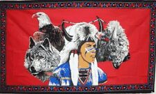Indian with Eagle, Wolf & Buffalo Flag 3x5 ft Native American Feather Headdress