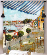 Le Port II French Cafe Grande Tapestry Wall Hanging