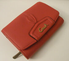 NWT COACH 48068 ASHLEY PERSIMMON PLEATED LEATHER COMPACT CLUTCH WALLET