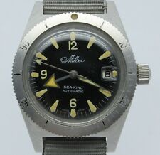 VINTAGE Milber Sea King Automatic Steel Mens 36mm 600ft Skin Divers Watch Berman