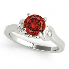 Red Color Enhanced Diamond 3 Stone Ring 14K WG for Women Valentineday Spl.Sale
