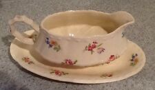 Crooksville Ohio Antique China LITTLE BOUQUET Gravy Boat and underplate