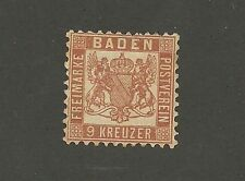 German State, Baden, 9 Kreuzer, no gum, Michel #12, near mint