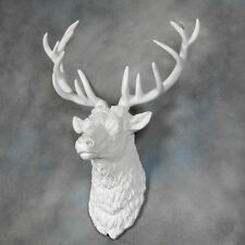Large Bright White Stag Deer Head Wall Mounted Figure Statue Gift
