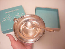 Vintage Set - Dip Dish/ Spoon -International Deep Silver Plate Happy Anniversary