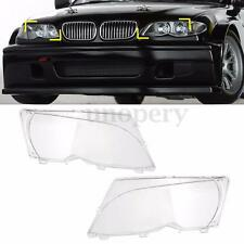 Pair LH+RH Replacement Headlight Lenses -Clear For BMW E46 2DR 99-03 / M3 01-06