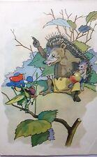 Künstlerkarte Igel mit Apfel  Hedgehog Wald ЕЖИК Grasshopper Heuschrecke 1965
