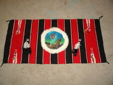 Vtg MultiColor Native American Indian Wolf Painting Rug Hanging Wall Decor 58x28