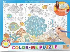 Jigsaw Puzzle Color Me Aquarium 100 pieces NEW Paint it Yourself Stress Relief