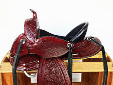 "16"" WESTERN LEATHER HORSE COWBOY PLEASURE TRAIL RANCH BARREL SHOW SADDLE TACK"