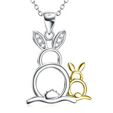 SOLID 925 STERLING Silver Bunny Rabbit Pendant Mother&Child Necklace Pet charm