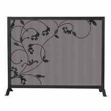 Uniflame Single Panel Black Screen with Flowing Leaf Design Fireplace Screens