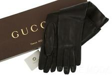 NEW GUCCI LADIES LUXURY BLACK  LEATHER INTERLOCKING LOGO ELBOW GLOVES 8 W/BOX
