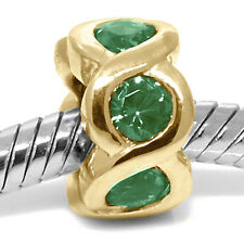 Real Cheeky Diopside 9ct Solid Gold Bead Charm FIT EURO BRACELETS, 30 Day Refund