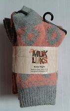 New original Muk Luks Women's 3-Pack Winter Knee High Socks peach purple gray