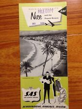 Vtg 1959 SAS Portraits Nice French Riviera City Map Guide Scandinavian Airline