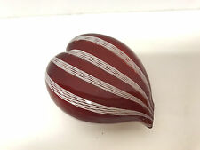 red white ITALIAN MURANO GLASS HEART PAPERWEIGHT art italy