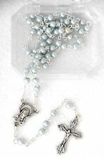 Gift Boxed Blue Glass Pearl Beads BAPTISM ROSARY Catholic Keepsake for Baby NEW