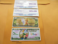 LOT 2 * DISNEY NOVELTY DOLLAR *  TINKERBELL *  + DISNEY DOLLAR ENVELOPE