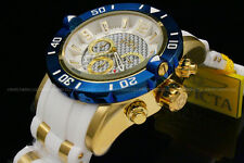 NewInvicta Men's Pro Diver 50 MM Chrono 18K Gold Plated White Dial SS Poly Watch