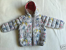 NEW Next Grey Floral Puff / Padded Jacket / Coat 2-3 years
