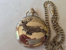 A60 Springing Stag   polished silver case mens GIFT quartz pocket watch fob