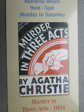 BOOKMARK AGATHA CHRISTIE MURDER IN THREE ACTS Book Cover Wallace & Scott Books