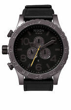 New Nixon A124680 51 30 Chrono Leather All Gunmetal / Black Men's Watch NIB