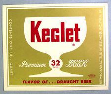 Esslinger's Inc KEGLET PREMIUM BEER paper beer label PA 32oz