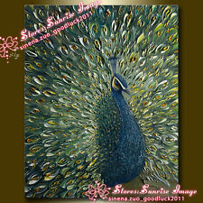 Hand painted Animal Textured Peacock Oil painting Wall art decor /NO Frame