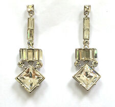 Butler and Wilson Clear Crystal Art Deco Style Drop Earrings 45th Anniversary