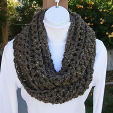 INFINITY SCARF Winter Loop Cowl Taupe Gray Grey Brown Wool Acrylic, Crochet Knit