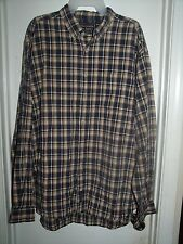 Abercrombie & Fitch Beige Tan Blue Plaid Button Front L/S Top Shirt Size L