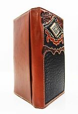 Nocona Tooled Leather Western Wallet~Bifold Rodeo Long Trucker Brown Black Mens