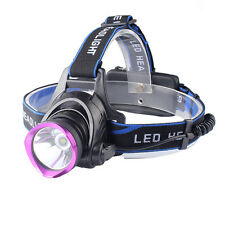 3000 LM XM-L T6 LED Head Torch 18650 Headlamp Rechargerable Light ,Purple Head