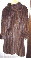 Vintage 1950 Ladies Full Length Brown Mink Fur Coat with Cuff Sleeves