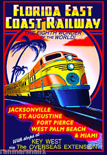 Florida Key West East Coast Railways United States Travel Advertisement Poster