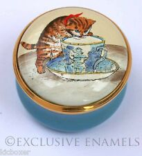 Halcyon Days Enamels Kitten & Teacup You're The Cats Whiskers Enamel Box