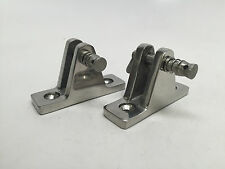 "2 PCS MARINE BOAT BIMINI FITTING SS316 DECK HINGE REMOVABLE PIN 7/8X2"" 22X50.8MM"