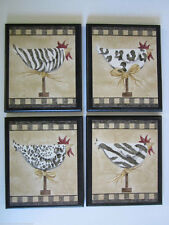 Chickens kitchen wall decor pictures animal print spots stripes chicken plaques