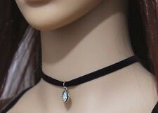 STUNNING SINGLE STRAND JEWELLED DROP FAUX SUEDE CHOKER NECKLACE - UK SELLER