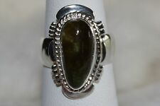 Signed Navajo Made Sterling Silver Fox Mine Turquoise Ring Size 6