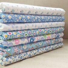 Lot 7pcs Tissus Patchwork Bleu Coton Fleuri Coupons Assorti Carreaux DIY Couture