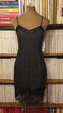 NWT ZARA grey black lace trim slip lingerie dress L UK 10-12