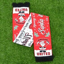 SANTA IS A MANCHESTER UTD FAN FOOTBALL SCARF CHRISTMAS GIFT
